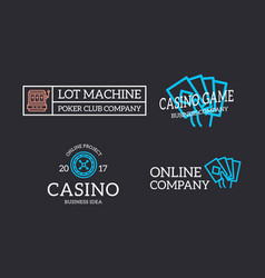 Set retro vintage jackpot slot machine vector