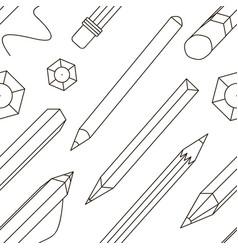 set stylized pencils pattern vector image