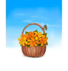 Summer background Basket full of flowers and a vector image