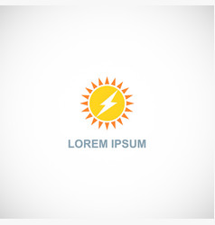 Sun shine energy bolt logo vector