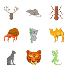 tiger icons set cartoon style vector image