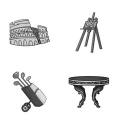 Travel sport and other monochrome icon in cartoon vector