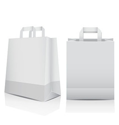 Two white shopping carrier bags vector image