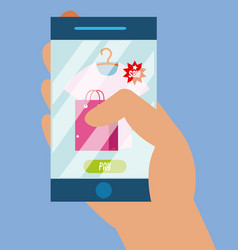 using smartphone to buy online vector image
