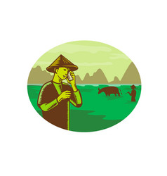 vietnamese farmer on mobile phone woodcut vector image