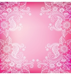 white flower frame lace ornament vector image