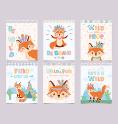 wild tribal fox poster be brave find adventure vector image