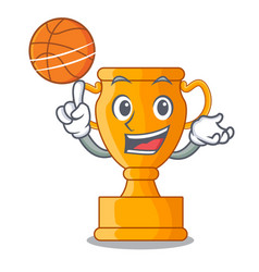 with basketball character gold trophy award for vector image