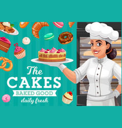 Woman baker with cake pastries and sweet food vector