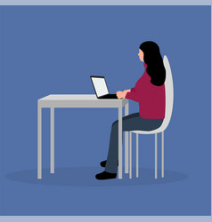 woman sitting working at a laptop cartoon vector image