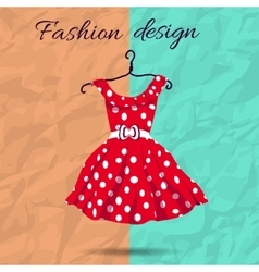 women dress polka dot with vector image