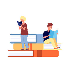 young readers children with books library vector image