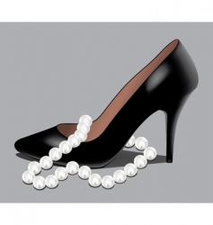 shoe and pearl beads vector image vector image
