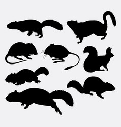squirrel rat and mouse animal silhouette vector image vector image