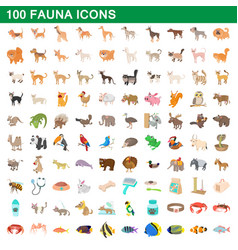 100 fauna icons set cartoon style vector image vector image