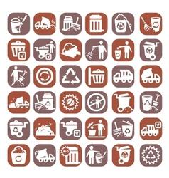big color garbage icons vector image