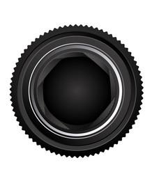 black camera lens open icon vector image