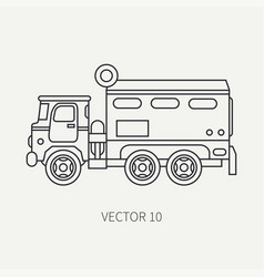 Line flat plain icon armored wagon army vector