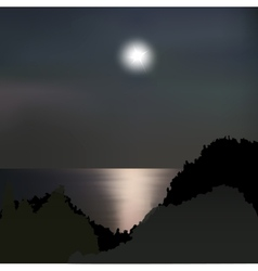 Moon path on the sea at night vector image vector image
