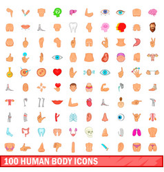 100 human body icons set cartoon style vector image