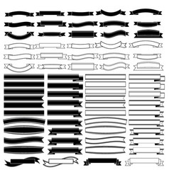 black and white ribbons banners set vector image vector image