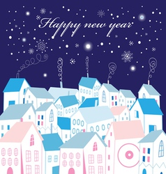 Christmas card city vector image