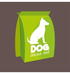 green bag delicious food dog icon vector image
