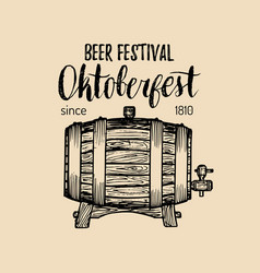 oktoberfest label beer festival sign with hand vector image
