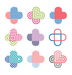 set of decorative isolated logos crosses vector image vector image