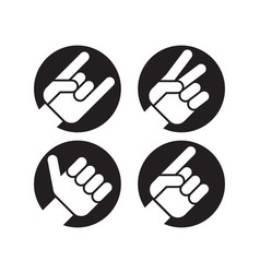 set of four flat hand gesture icons vector image vector image