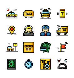 thin line taxi icons set vector image vector image