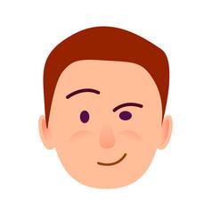 brunette boy with distrustful look flat art icon vector image