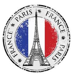 Paris town in France grunge flag stamp vector image