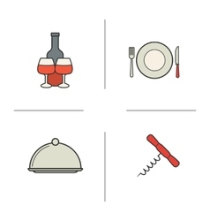 Restaurant kitchen items color icons set vector image vector image