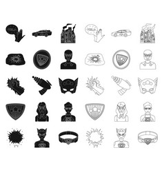 A fantastic superhero blackoutline icons in set vector