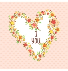 Abstract bright flowers in heart shape vector image