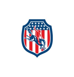 American Rodeo Cowboy Riding Bronco Shield Retro vector image