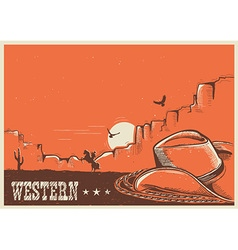 American western poster with cowboy hat and lasso vector image
