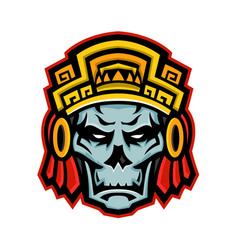 Aztec warrior skull mascot vector
