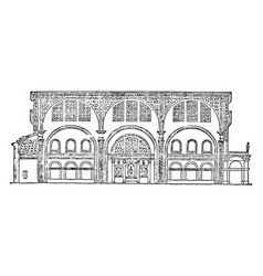 Basilica temple of peace vintage engraving vector