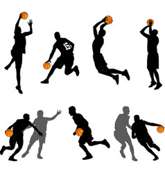 Basketball players silhouettes collection vector
