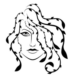 beautiful serious woman with stylized hair vector image