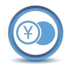 Blue yen coin icon vector