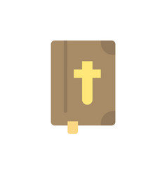 Book bible easter holiday flat color icon icon vector