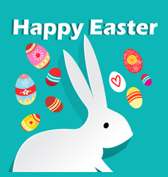 bright wonderful easter card with rabbits and eggs vector image