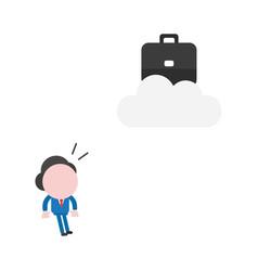 businessman looking briefcase on cloud vector image