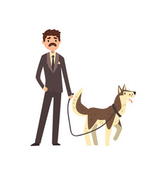 businessman walking his pet dog vector image