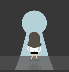 businesswoman going to big keyhole vector image