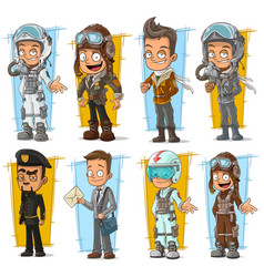cartoon cool pilot and postman character set vector image