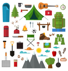 cartoon mountain hike elements set vector image